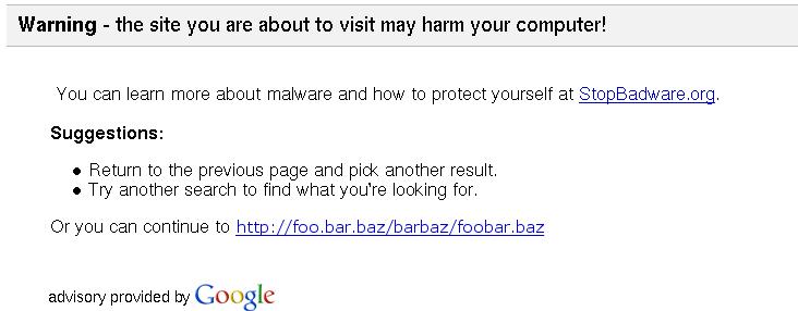 Google informerar om osäker sajt