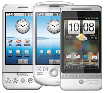 android g1, g2 och g3